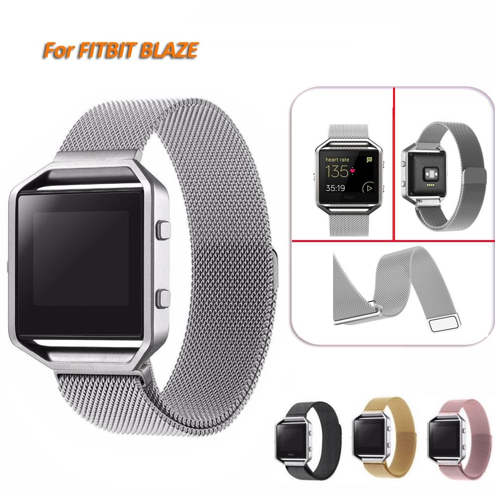 Milanese Loop horlogeband roestvrij staal magnetische sluiting armband voor Fitbit Blaze Smart Fitness horlogeband (geen frame)