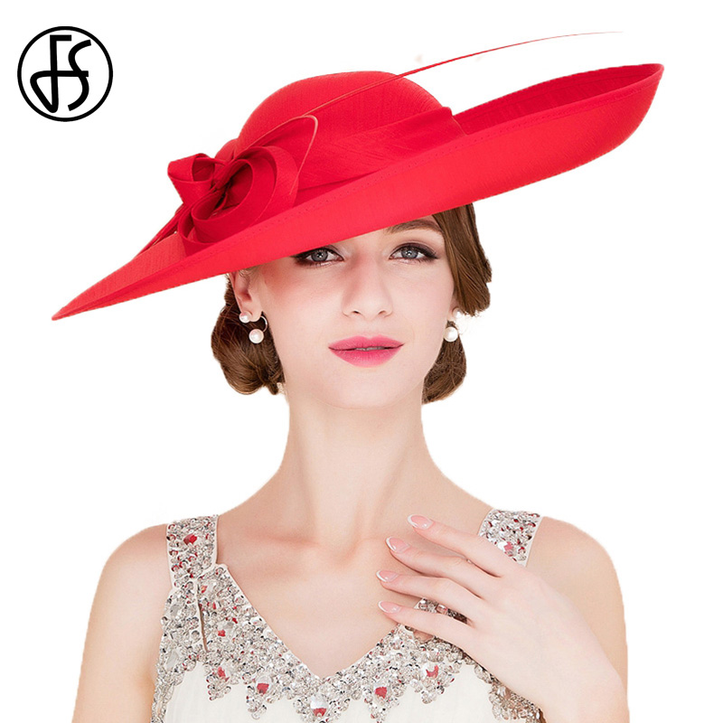 Royal Red Ladies Weddings Hats Fascinators Women Black Big Brim ... 1094eb4ce40