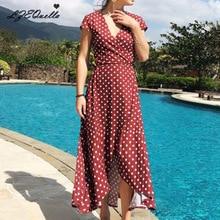 Летнее шифоновое платье в горошек в стиле «Бохо пляжное платье Винтаж короткий рукав необычное платье для вечеринки Открытое платье без рукавов, Vestidos, плюс Размеры