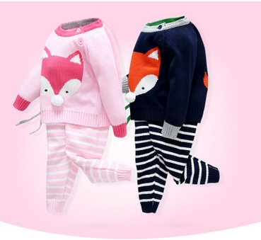 2017-Girl-Boy-Knitting-Winter-Sweater-Kid-Knit-Jacket-Long-Sleeve-Baby-Clothes-2-pieces-Top-Pants-1