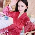 2017 Primavera Outono Inverno Anti Frio & Ficar Quente de Flanela Mulheres Família Robe Coral Fleece Pijama Roupão Senhora Térmico Plus Size 2XL