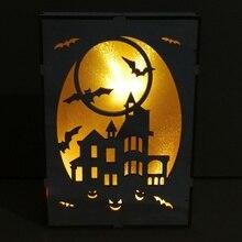 New Hanging  LED Light Decoration Haunted House Moon Bat Pattern Wooden Halloween Rectangular Laser Hollow