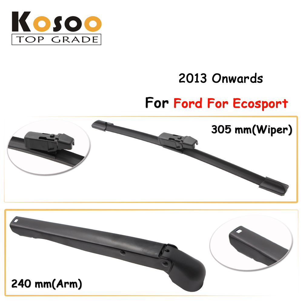 Kosoo auto rear car wiper blade for ford for ecosport 305mm 2013 onwards rear window windshield wiper blades arm car accessories