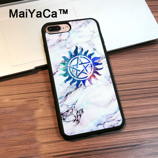 Maiyaca Supernatural Symbols In Marble Back Cover Case For Iphone 7