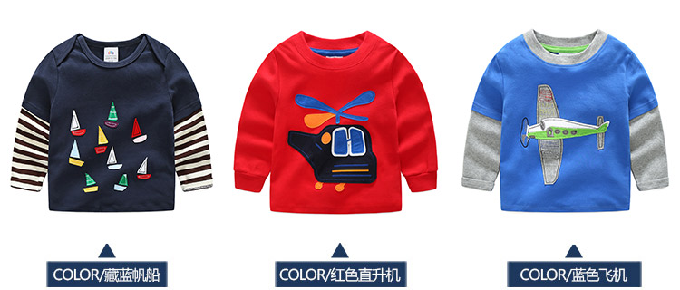 2018 Spring Autumn For 2-9 10 Years Children Cotton Striped Patchwork Cartoon Car Bus Truck Baby Kids Boys Long Sleeve T Shirts (13)