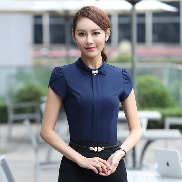 4a01925313d Formal Ladies Dark blue Blouses Women Summer Shirts Fashion Female Work  Wear Blouses Short Sleeve Elegant