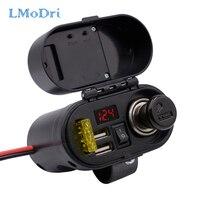 LMoDri Motorrad Multi-funktion 4 in 1 Elektronische Uhr Typ Zigarette Leichter Dual Ports USB Ladegerät Wasserdicht