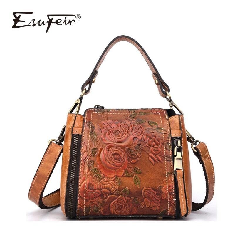цены на ESUFEIR Luxury Genuine Leather Women Handbag Leather Retro Handmade Embossed Shoulder Bag Messenger bag Fashion Bucket Bag в интернет-магазинах