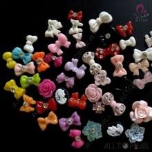 100 шт Смешанные 3D блестки галстук-бабочка для ногтей Цветочный дизайн акриловые украшения для ногтей смола стразы