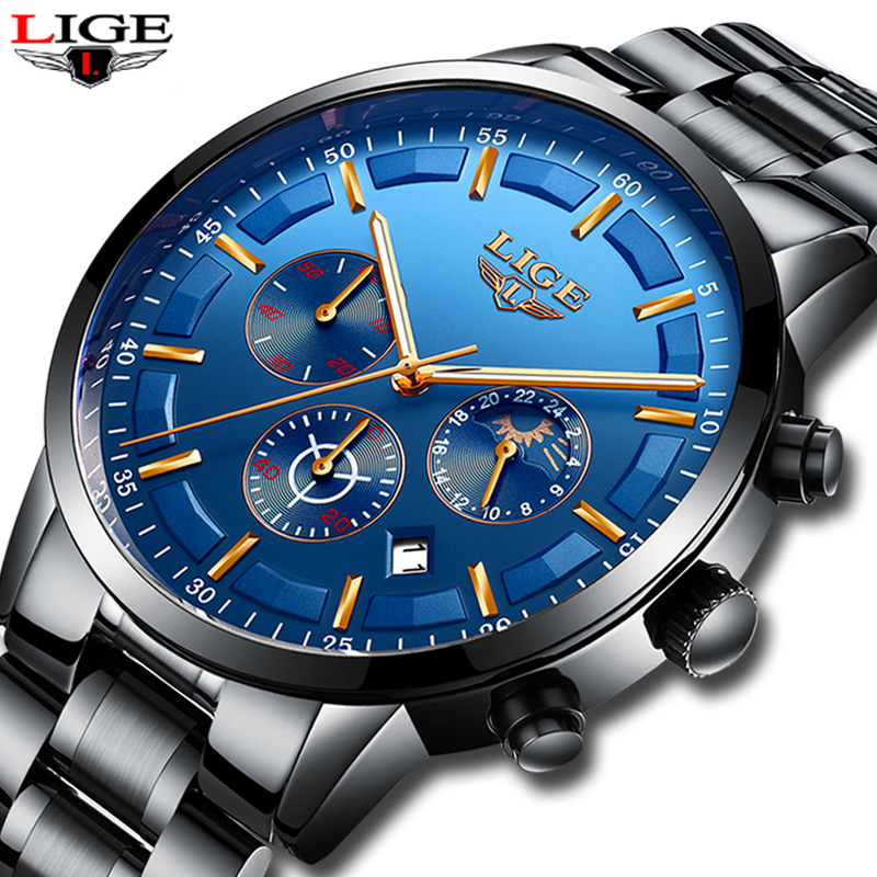 LIGE New Fashion Men Watches Top Brand Luxury Full Steel Business Quartz Watch Men Waterproof Sport Watch Male Relogio Masculino men s watches curren fashion business quartz watch men sport full steel waterproof wristwatch male clock relogio masculino