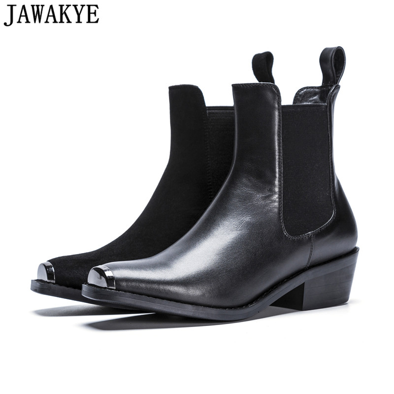 Autumn black middle Heels Genuine Leather Martin Boots British retro metal decor Ankle Boots for Women 2018 winter shoes autumn winter black white high heels knight boots real leather shoes british retro metal decor pointy toe ankle boots for women