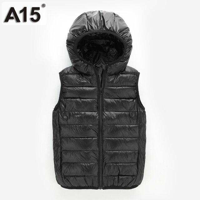 A15 Vest Kids Boy Gilê Trẻ Em Vest 2018 Mùa Thu Mùa Xuân quần áo Trẻ Em Áo Khoác Ngoài Cô Gái Vest Đội Mũ Trùm Đầu Tay Áo Khoác 10 12 năm