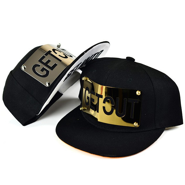 Baseball Caps For Man And Woman Snapback Hip Hop Metal Gold Silver Letter GET OUT Hats Flat Brim Cool Novelty Unisex Adjustable