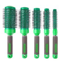 5pcs/Set Ceramic Iron Round Comb Hairbrush Protective Curly Hair Salon Hairdressing Barbers Hairstyle Hair Care Styling Brush