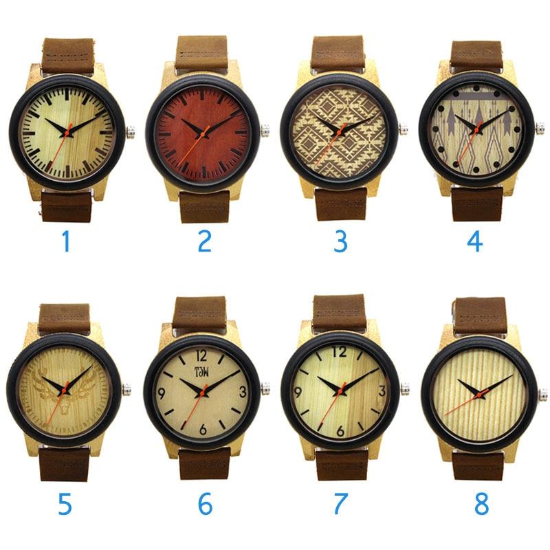 Fashion Wood Bamboo Wrist Watch Genuine Leather Bracelet Quartz Watch Men Women Clock Gifts LL@17
