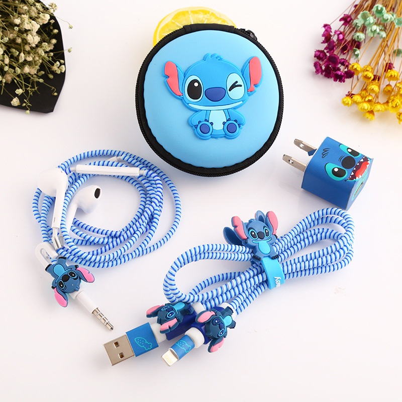 1 Set Cartoon <font><b>USB</b></font> Cable Protector Cable Winder Charger stickers Cable Wire Organizer TPU Spiral Cord protector For iphone <font><b>5</b></font> <font><b>6</b></font> 7 image