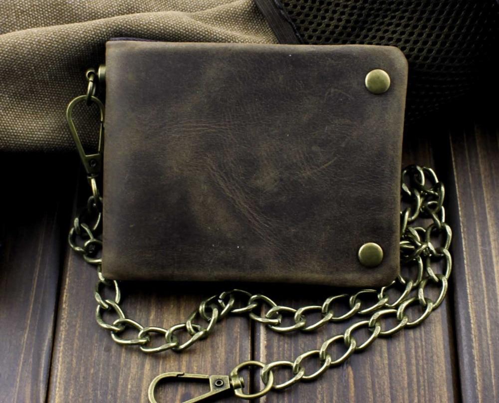 Tow Brass Snap Button Men Biker Rock Case Cilp Wallet With
