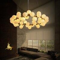 Nordic Industrail Loft Chandeliers Round Ball Molecular Chandelier Light for Kitchen Golden Droplight LED Glitter Lighting Fixtu