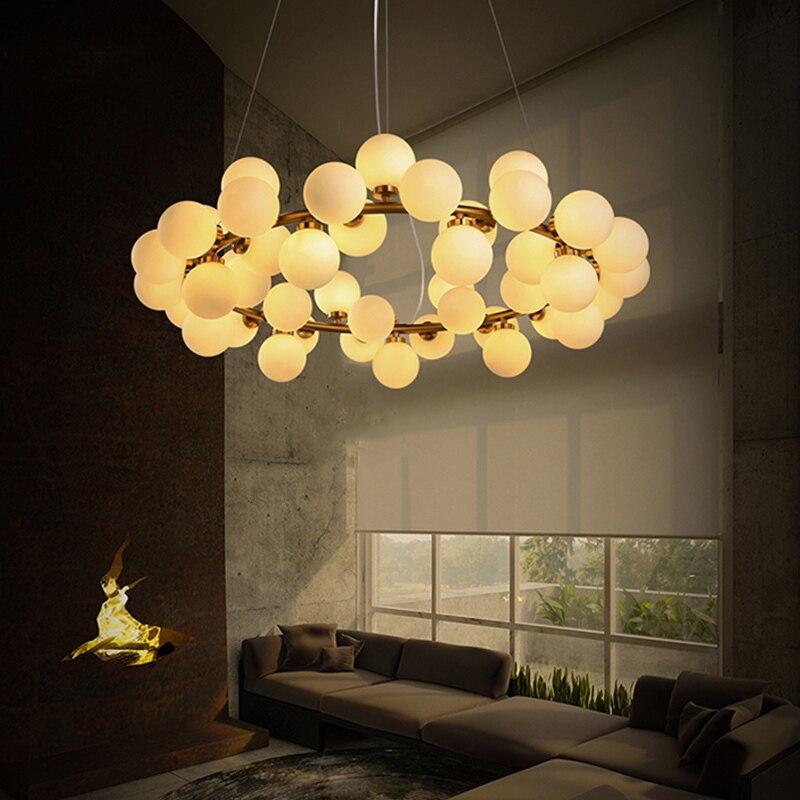 Nordique Industrail Loft Lustres balle ronde Moléculaire Lustre Lumière pour la Cuisine D'or Droplight led Glitter Éclairage Insta