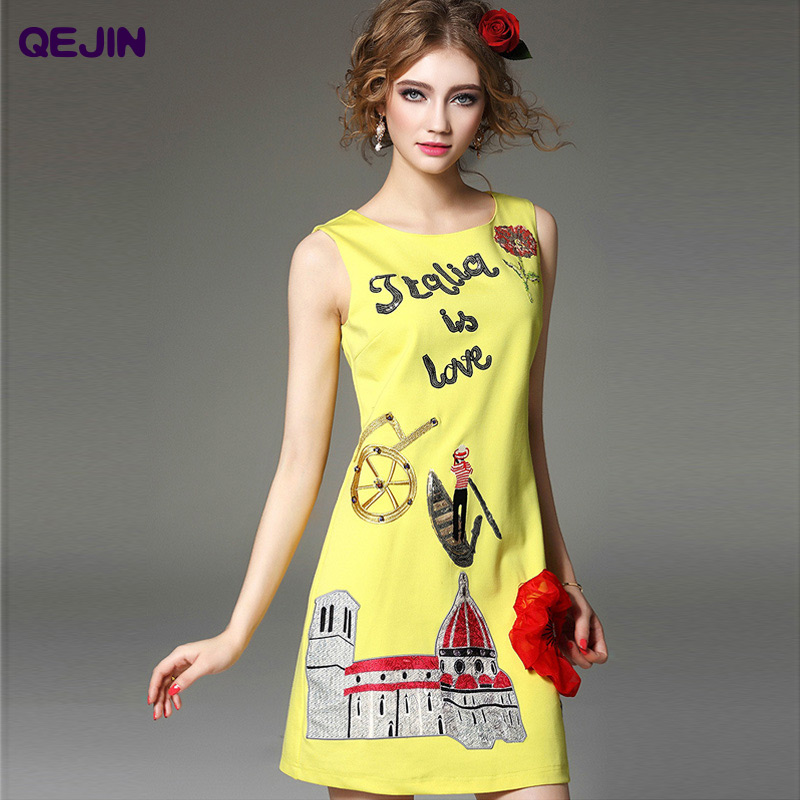 2016 frauen baumwolle dress stickerei cartoon casual dress sleeveless - Damenbekleidung