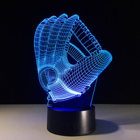Touch Color Changing LED Night Light Mood Lamp 3D Baseball Glove Acrylic Bedroom Lighting Decoration Rugby