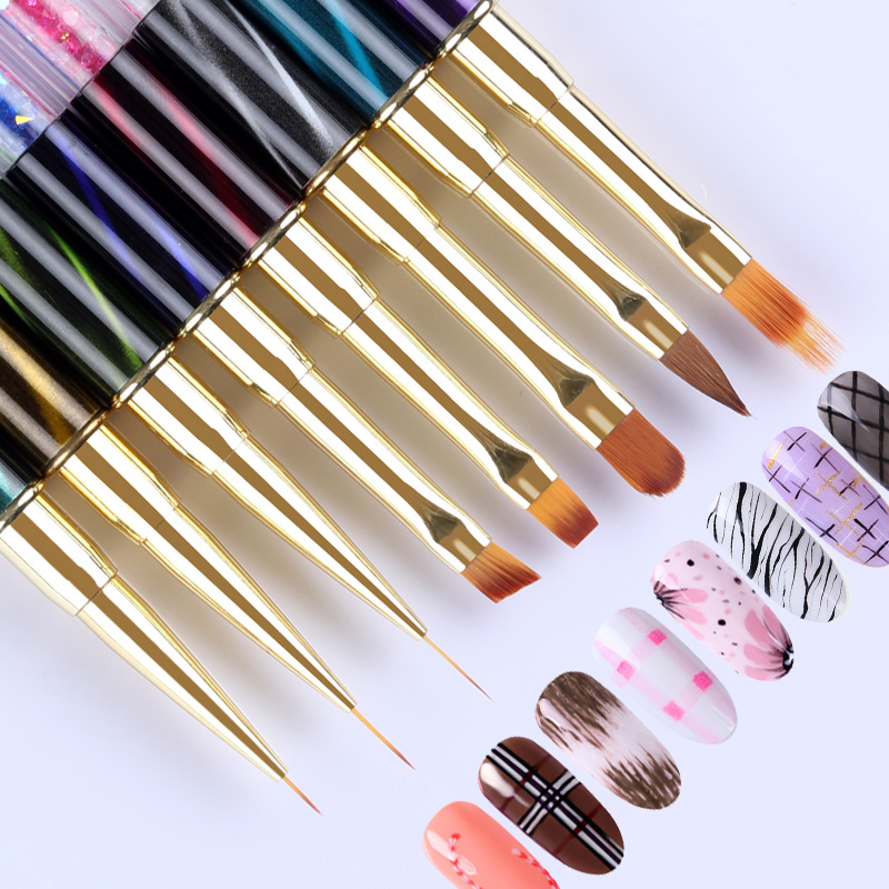 UV Gel Nail Art Liner Painting Gradient Brush Cat Eyes Rhinestone Handle Manicure Line Drawing Pen Brush 1Pc