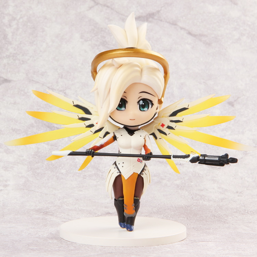 Love Thank You OW over game watch Mercy cute figure toy Collectibles Model gift doll 13CM PVC all characters tracer reaper widowmaker action figure ow game keychain pendant key accessories ltx1