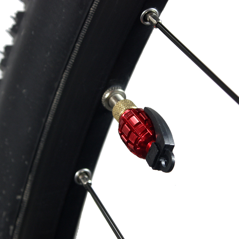 1 Pair Red Anodized Metal Grenade-Shaped Replacement Valve Caps for Bikes