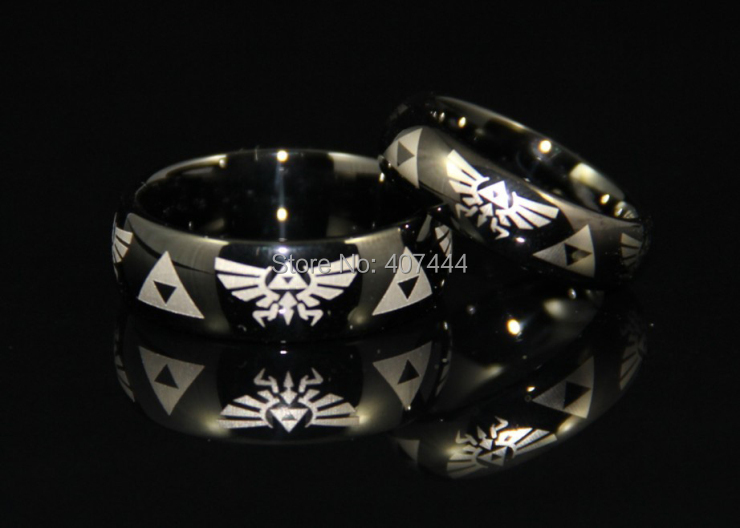 free shipping usa uk canada russia brazil hot sales 6mm 8mm black dome mens comfort fit - Zelda Wedding Ring