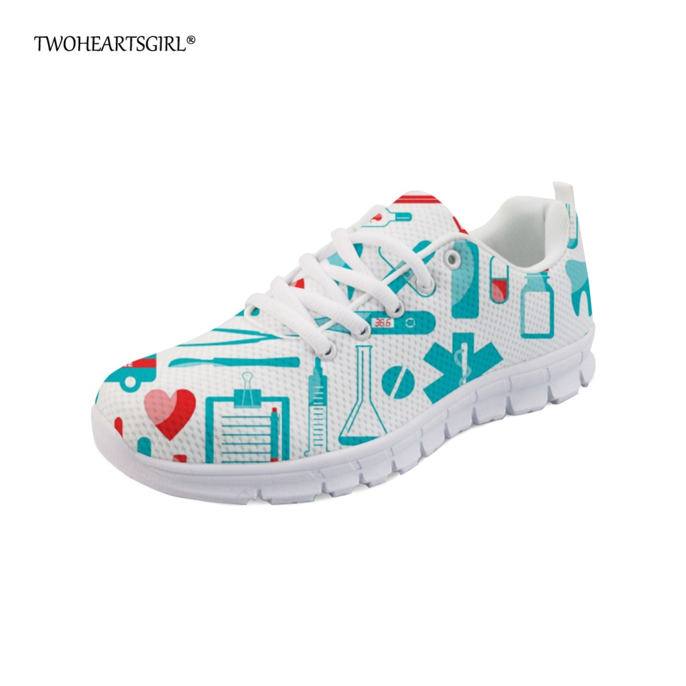 Twoheartsgirl Trend Women Flats Light Mesh Sneakers Cool Cartoon Dentist Dental Equipment Pattern Flat Shoes for Woman Zapatos