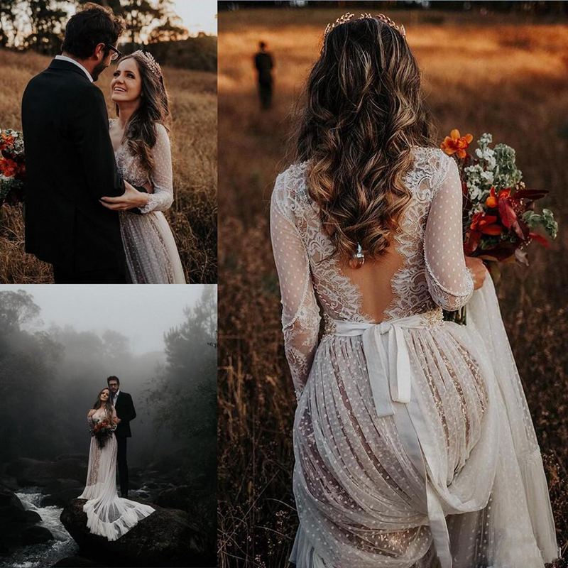 2019 Bohemian Wedding Dresses With Long Sleeve Sexy V Neck Lace Sweep Train Beach Boho Country Bridal Gowns robe de mariee