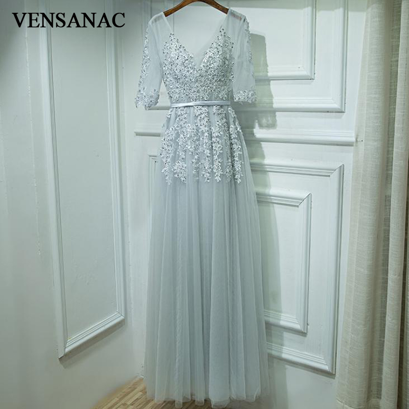 VENSANAC 2018 Sequined V Neck Lace Appliques A Line Long Evening Dresses Party Half Sleeve Pearls Sash Prom Gowns