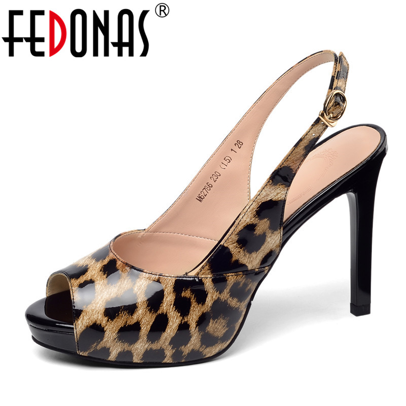FEDONAS Classic Fashion Sexy Women Sandals 2019 New Genuine Leather Platforms Shoes Woman Summer Party Night