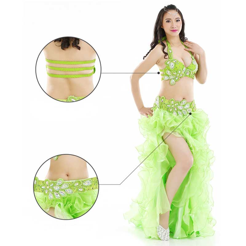 Newest Bollywood Indian Belly Dance Costumes For Women 3 Piece Belly Dancing Costume Sets Tops+Skirts+Belt Bellydance Clothing