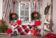 Горизонтальные рождественские украшения для дома фотографии фонов Рождество Фон Фото фон Рождество фон XT6259