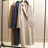 Цвета слоновой кости длинные Альпака кашемировое пальто женские шерстяные пальто с поясом бренд качество