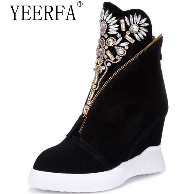 Women's cow suede leather ankle boots pointed toe wedges high heels shoes autumn fashion rhinestone women shoes 35-39 eur front lace up casual ankle boots autumn vintage brown new booties flat genuine leather suede shoes round toe fall female fashion
