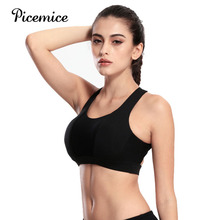 Picemice Fitness Running Workout Bra Tank Tops Sexy Women Vest Halter Yoga Strappy Sport Bras Push Up Shockproof