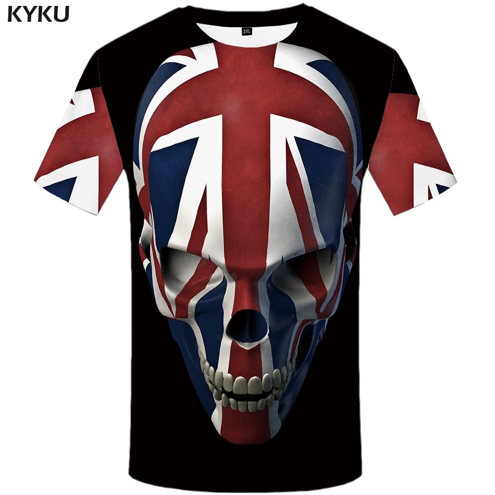 KYKU Skull T Shirt Men Black Anime Tshirt United Kingdom Gothic 3d Print T-shirt Punk Rock Clothes Casual Hip Hop Mens Clothing