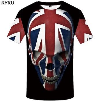 KYKU calavera Camiseta Hombre negro Anime camiseta Reino Unido gótico 3d impresión camiseta Punk Rock ropa Casual Hip Hop ropa para hombre
