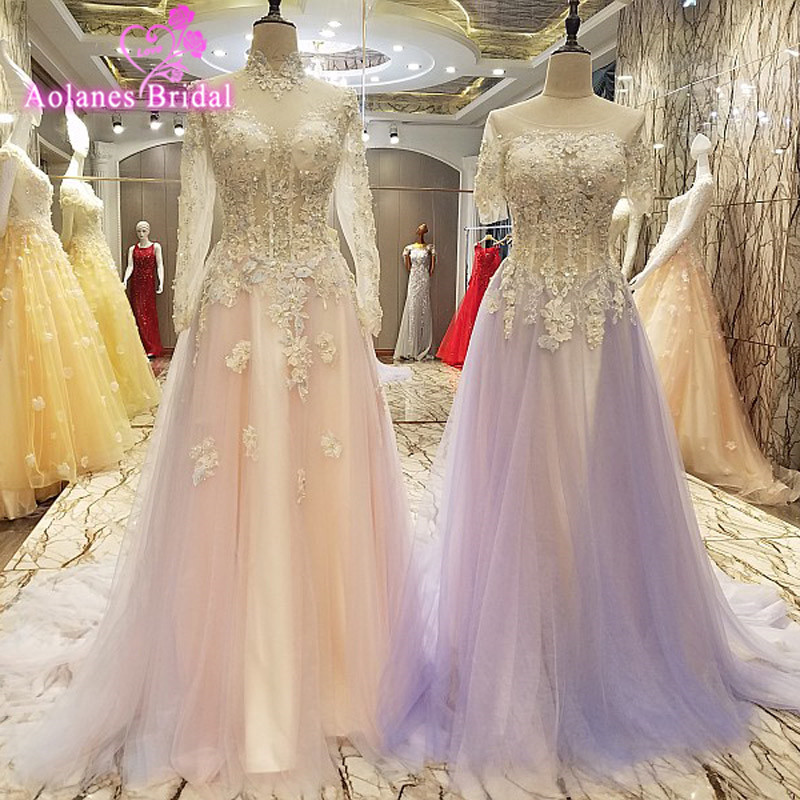 Robe De Soiree A Line High Neck Evening Dresses Long Party Light Pink Crystal Formal Prom Dresses Evening Gown Real Photo 2017