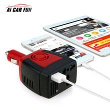 Inversor de corriente para coche, fuente de alimentación USB de 150W, 220 Ma, CC de 12 V-ca de V, transformador, cargador de teléfono móvil y portátil, enchufe Universal