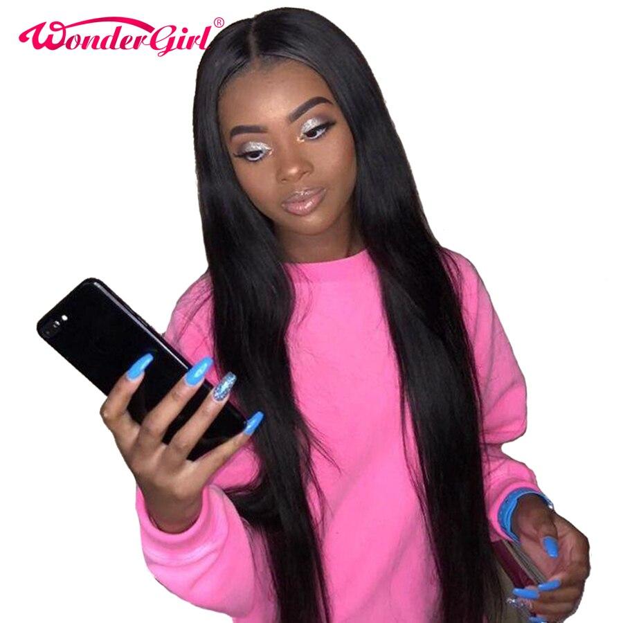 Чудо-девочка 360 Синтетические волосы на кружеве al парик предварительно сорвал с ребенком волос Remy бразильский Прямые Синтетические волосы ...