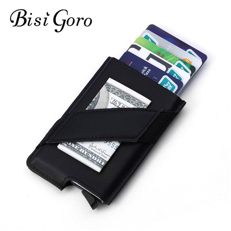 BISI GORO 2018 Männer Und Frauen Karte Halter Kuh Leder Metallic RFID Brieftasche Vintage Geldbörse Aluminium Kredit Visitenkarte Halter
