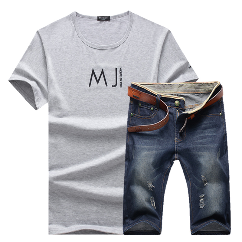 2018 Summer the new fashion men Round collar printed letters short sleeve T-shirt casual jean sporting suit