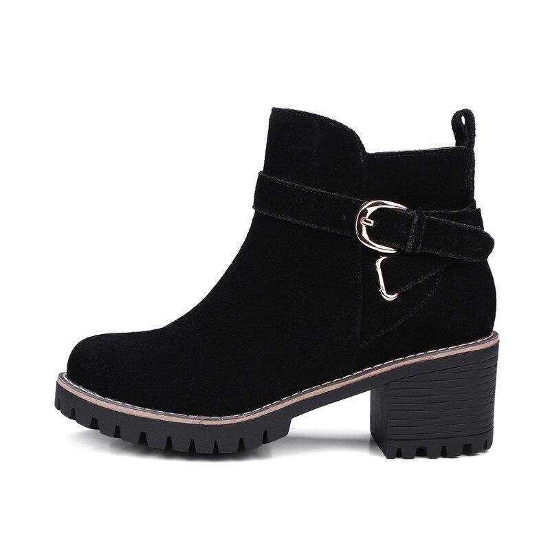 Zapatos Tacones Otoño Mujeres Las Suede Morazora 34 Vaca Moda Mujer Tobillo Primavera Para 42 Botas Altos Tamaño Negro De BEgwHxgdq