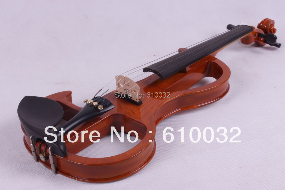 4/4 Electric Violin Solid wood Silent Pickup Fine tone Flame Veneer #2-9 brown color one 4 string 4 4 violin electric violin acoustic violin maple wood spruce wood big jack green color