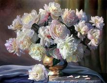DIY diamant Ensemble de broderie Blanc Pivoine Vase Mur Art diamant broderie fleurs loisirs et artisanat décoration de la maison