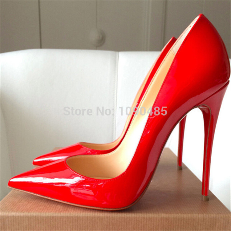 Red Bottom High Heels Brand Genuine Leather Women Pumps Pointed ...