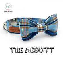 blue plaid  dog collar with bow tie basic cotton &cat necklace for pet gift